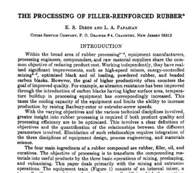 The Processing of Filler-Reinforced Rubber